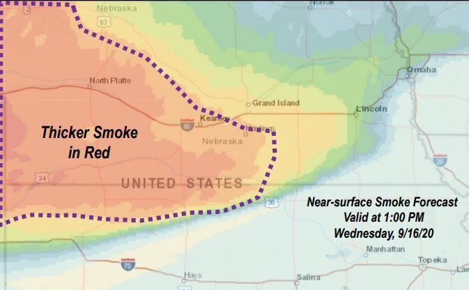 Smoke might affect air quality in Nebraska Wednesday