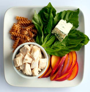 Chicken Pasta Salad with Gorgonzola and Nectarines