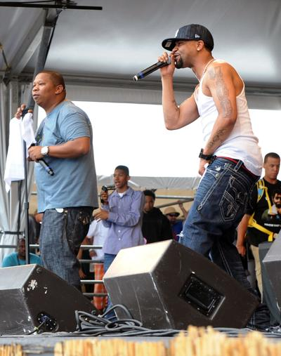 Rappers Juvenile& DJ Mannie Fresh perform at the 2010 New Orleans Jazz& Heritage Festival Presented By Shell- Day 7 at the Fair Grounds Race Course on May 2, 2010 in New Orleans.
