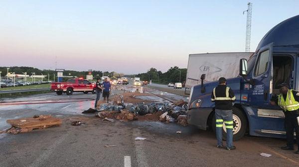 Two-semi crash closes eastbound I-94