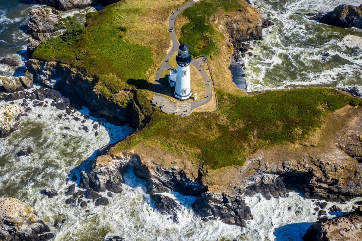 An Aerial View Of Yaquina Head Lighthouse Oregon Coast