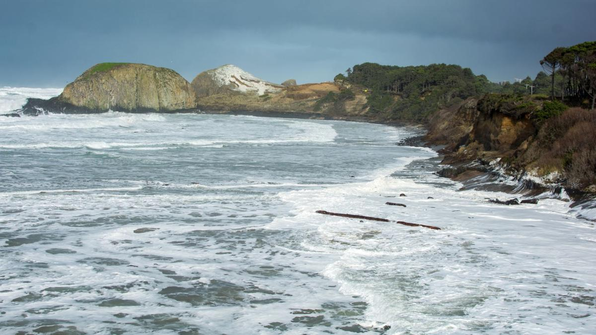 king tide surf covering the whole beach at Seal Rock State Park
