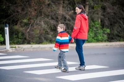 Mother and son crossing the street on the crosswalk; Shutterstock ID 103190267; Agency Name: MassGov