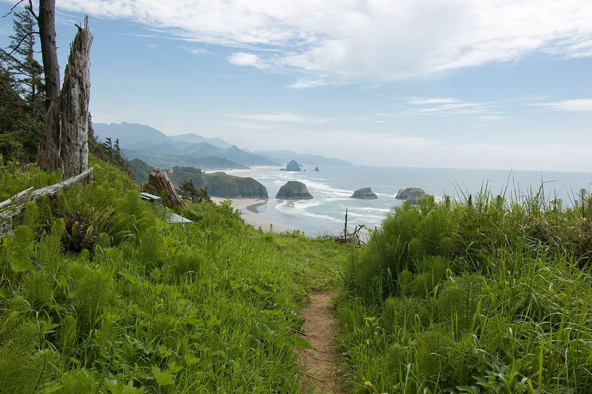 View southeast toward Crescent Beach, from 1/3 mile south of Ecola Point parking