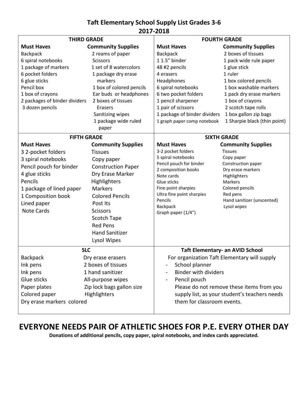download pdf taft elementary school supply list