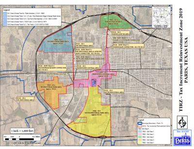 Tax Increment Reinvestment Zone map for city of Paris