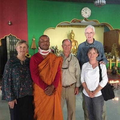 Buddhist monk at Namphake Village with Jan and Mack Walker and Mary and Ed Clark.JPG