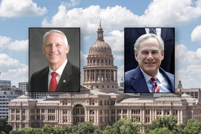 Rep. Gary VanDeaver, left, and Gov. Greg Abbott