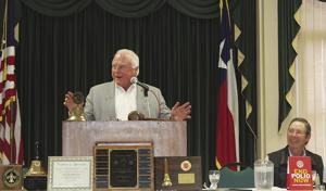 """<p class=""""p1"""">Texas Agriculture Commissioner Sid Miller addresses the Paris United Rotary Club Thursday afternoon with Lamar County Ag. Extension Agent Rick Maxwell looking on.</p>"""