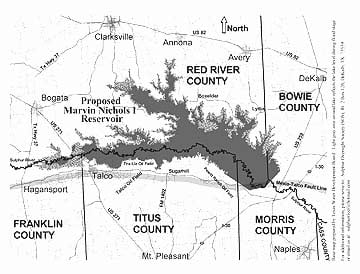 Map of the proposed Marvin Nichols Reservoir