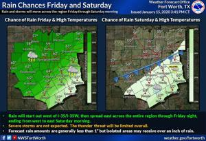Forecast for Thursday, Jan. 16: Good chance for rain today and tomorrow