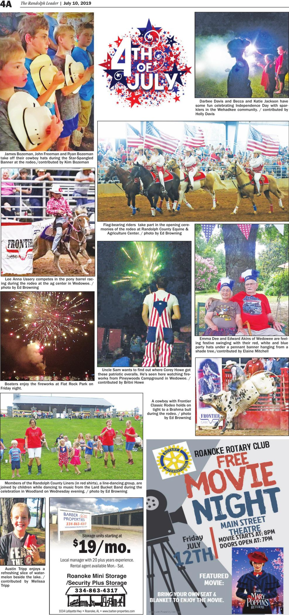 4th of July festivities throughout the county