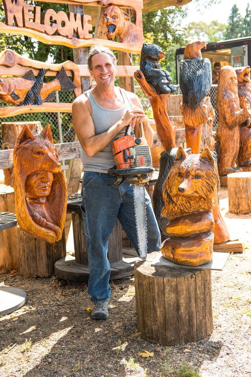 MATT HAMBROOK, of Hambrook Chainsaw Carvings in Ridgefield
