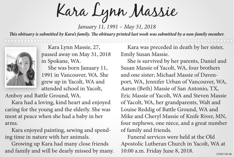 Kara Lynn Massie pdf | Obituaries | thereflector com