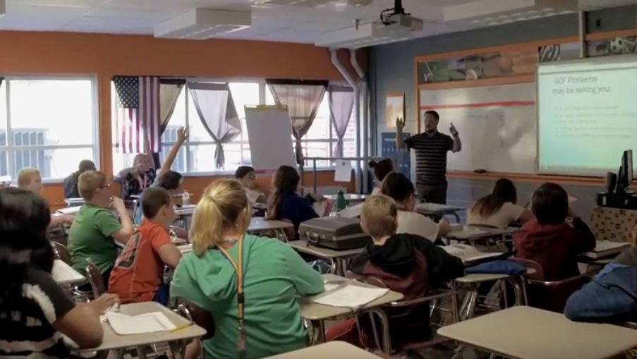 Bailey in the classroom