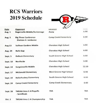 Rogersville City School Warriors 2019 Schedule