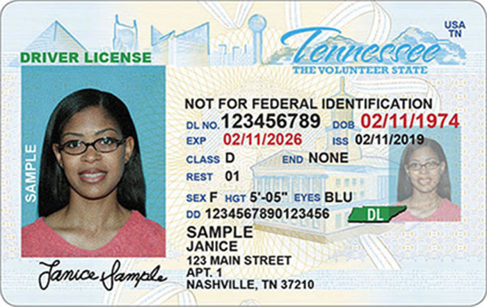 Non-Federally compliant Tennesee driver's license