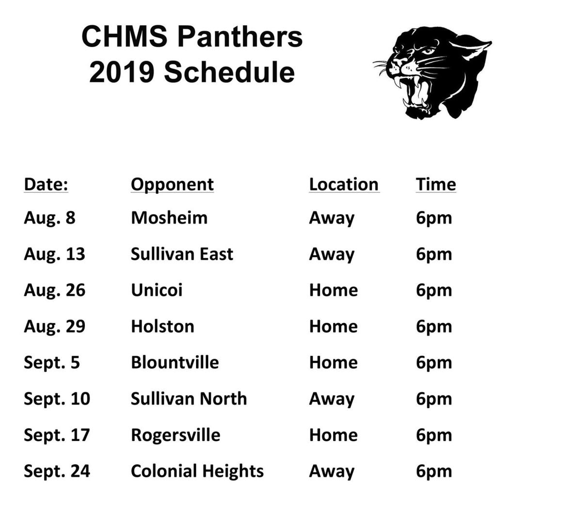 2019 CHMS Football Schedule