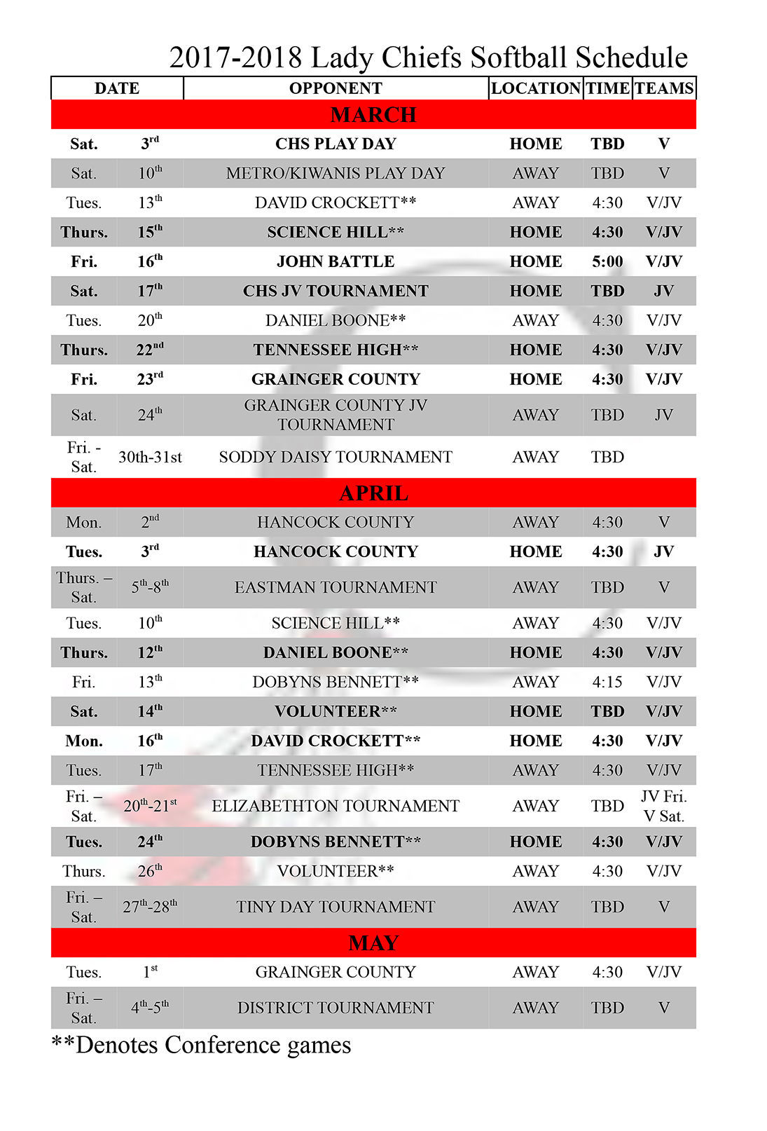 2017-2018 Lady Chiefs Softball Schedule