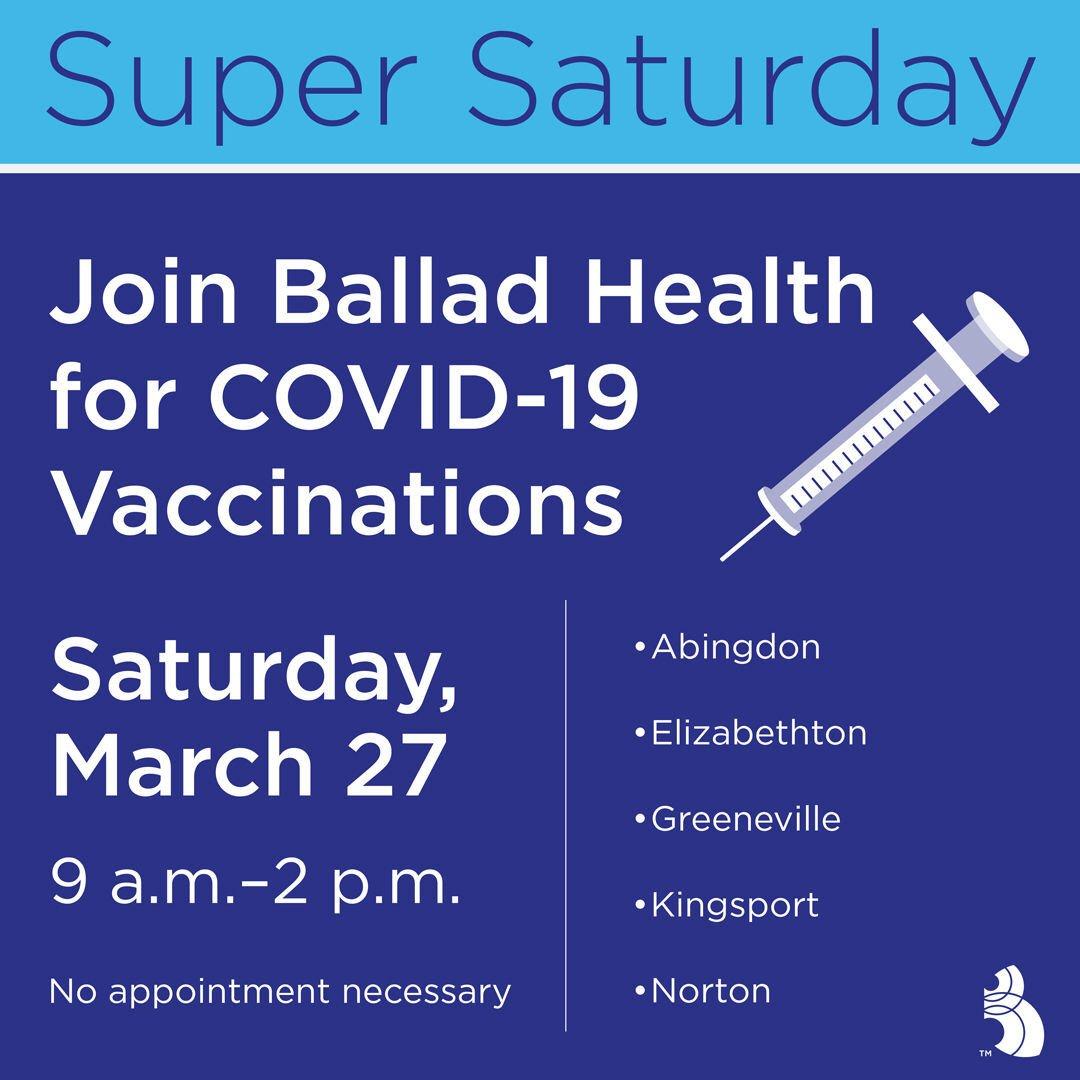 Ballad Health to host Super Saturday vaccination event March 27