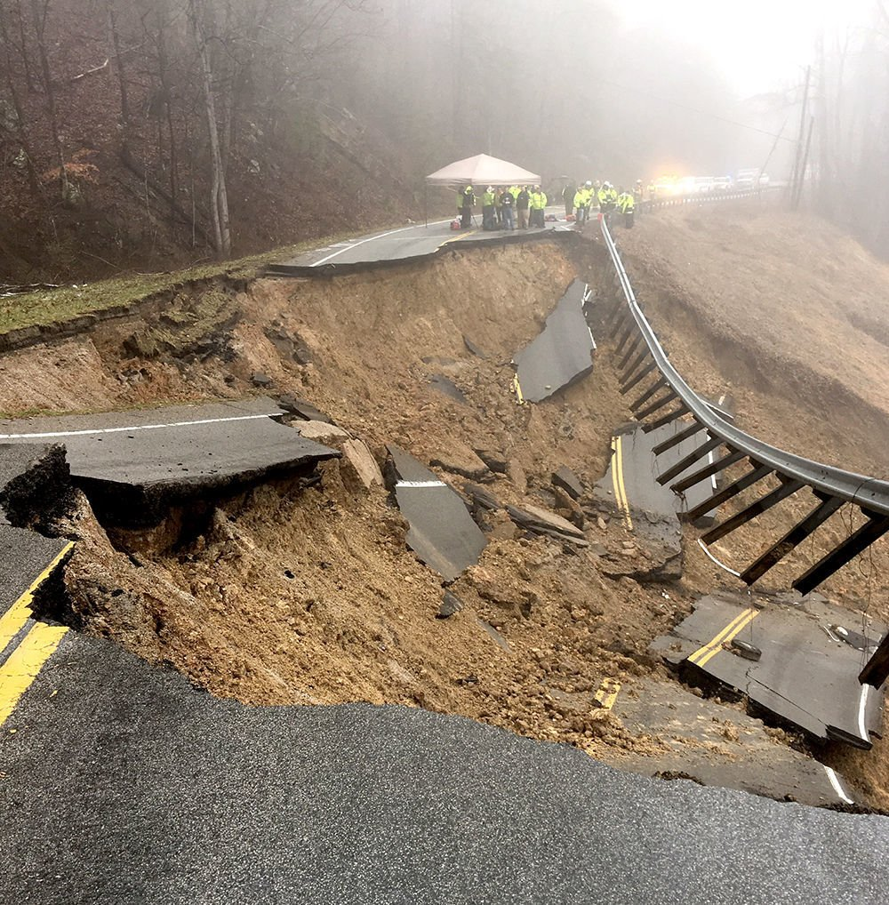 MASSIVE LANDSLIDE TAKES OUT BOTH LANES OF HWY  70 SOUTH OF