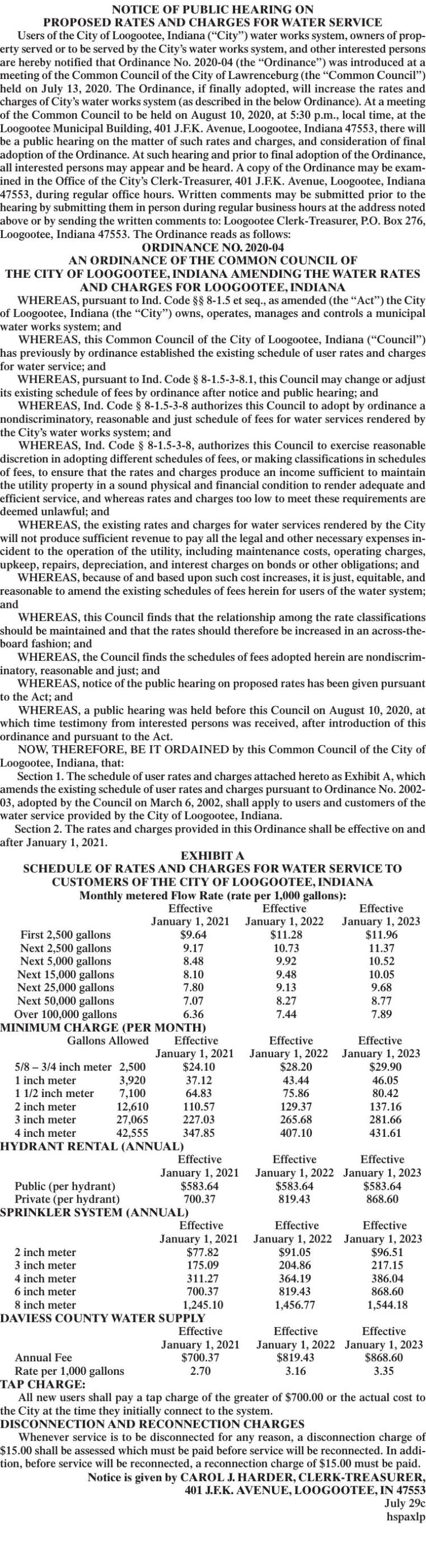 NOTICE OF PUBLIC HEARING ON PROPOSED RATES AND CHARGES FOR WATER SERVICE LOOGOOTEE