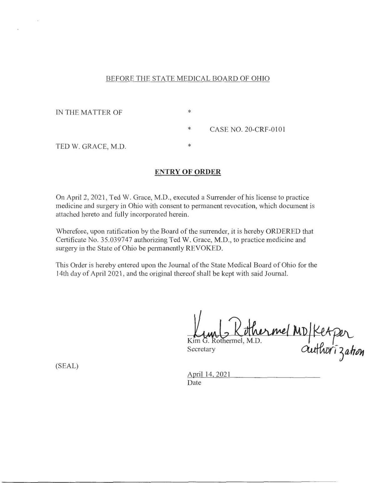 Order surrendering Ted Grace's Ohio medical license