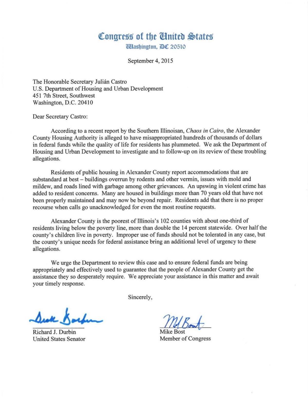 Durbin, Bost letter to HUD Secretary Castro