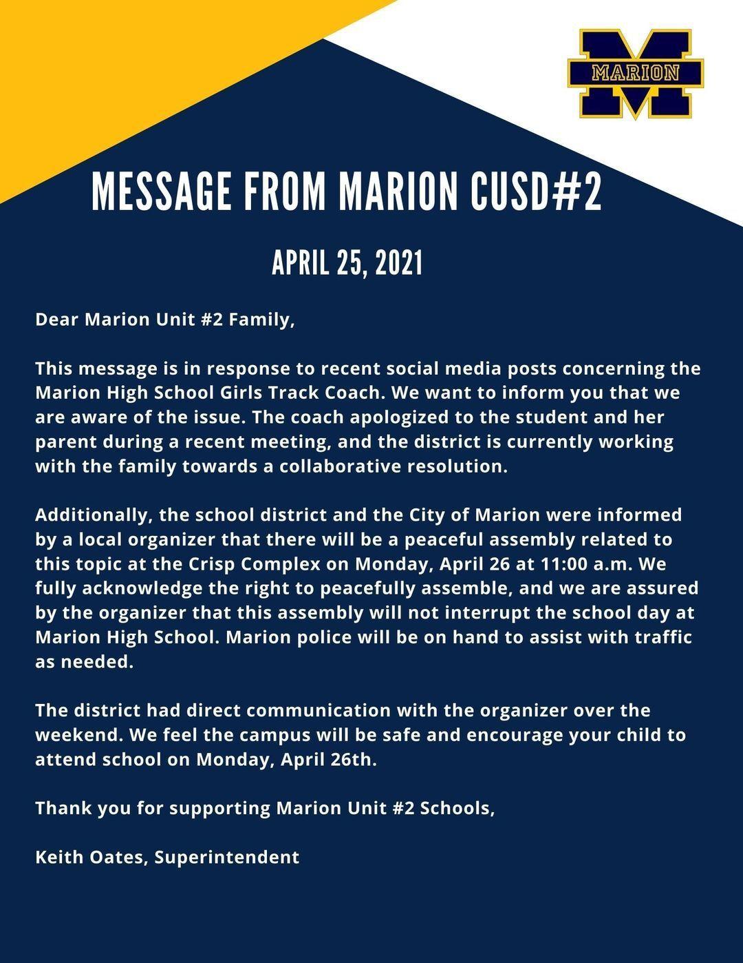 Marion superintendent's statement