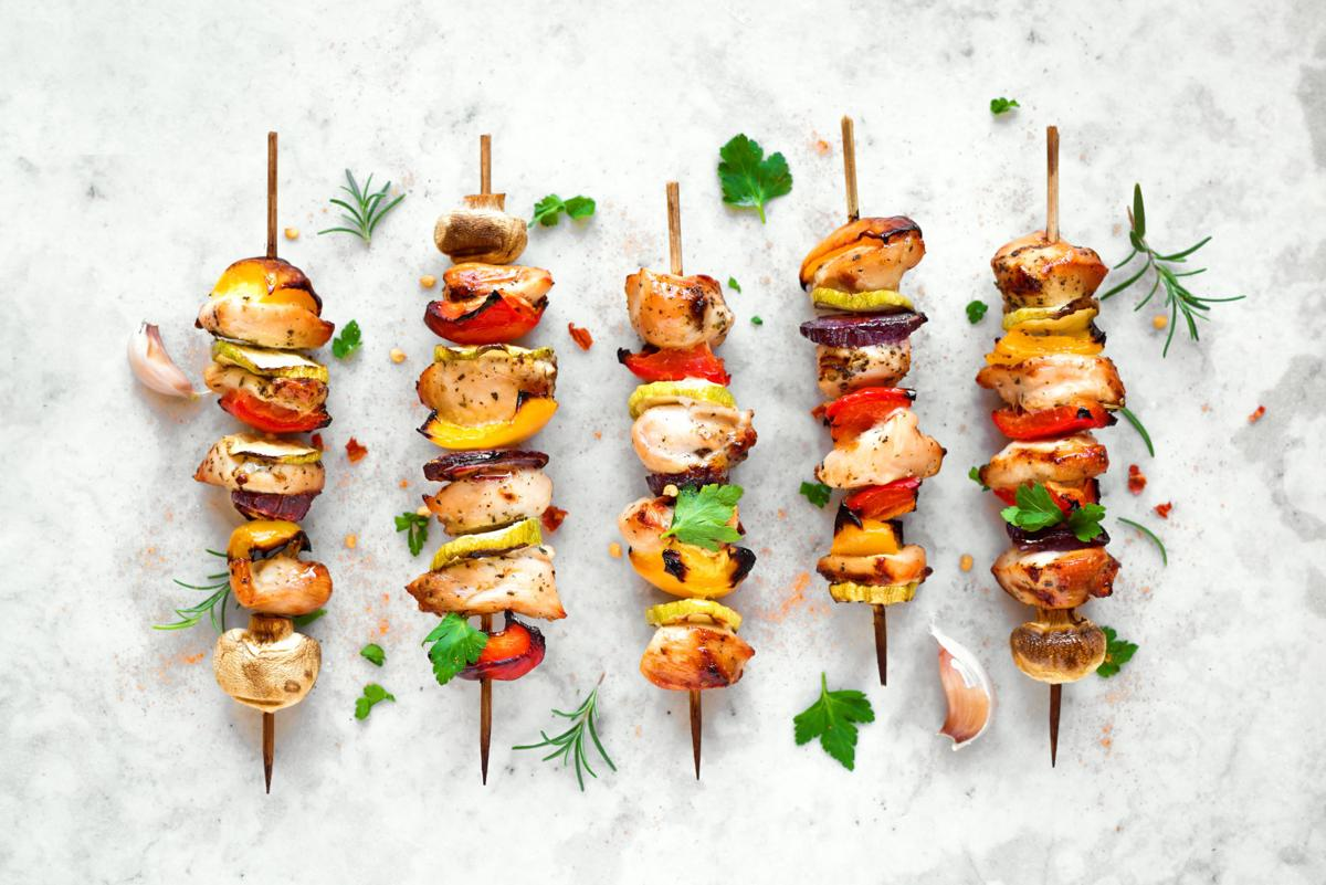 Grilled vegetable and chicken skewers