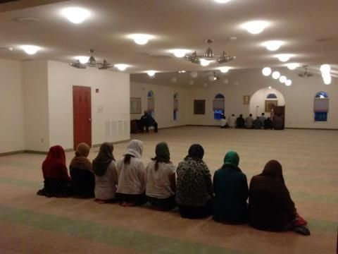 Muslims gather for prayer inside the Muslim mosque in Carbondale