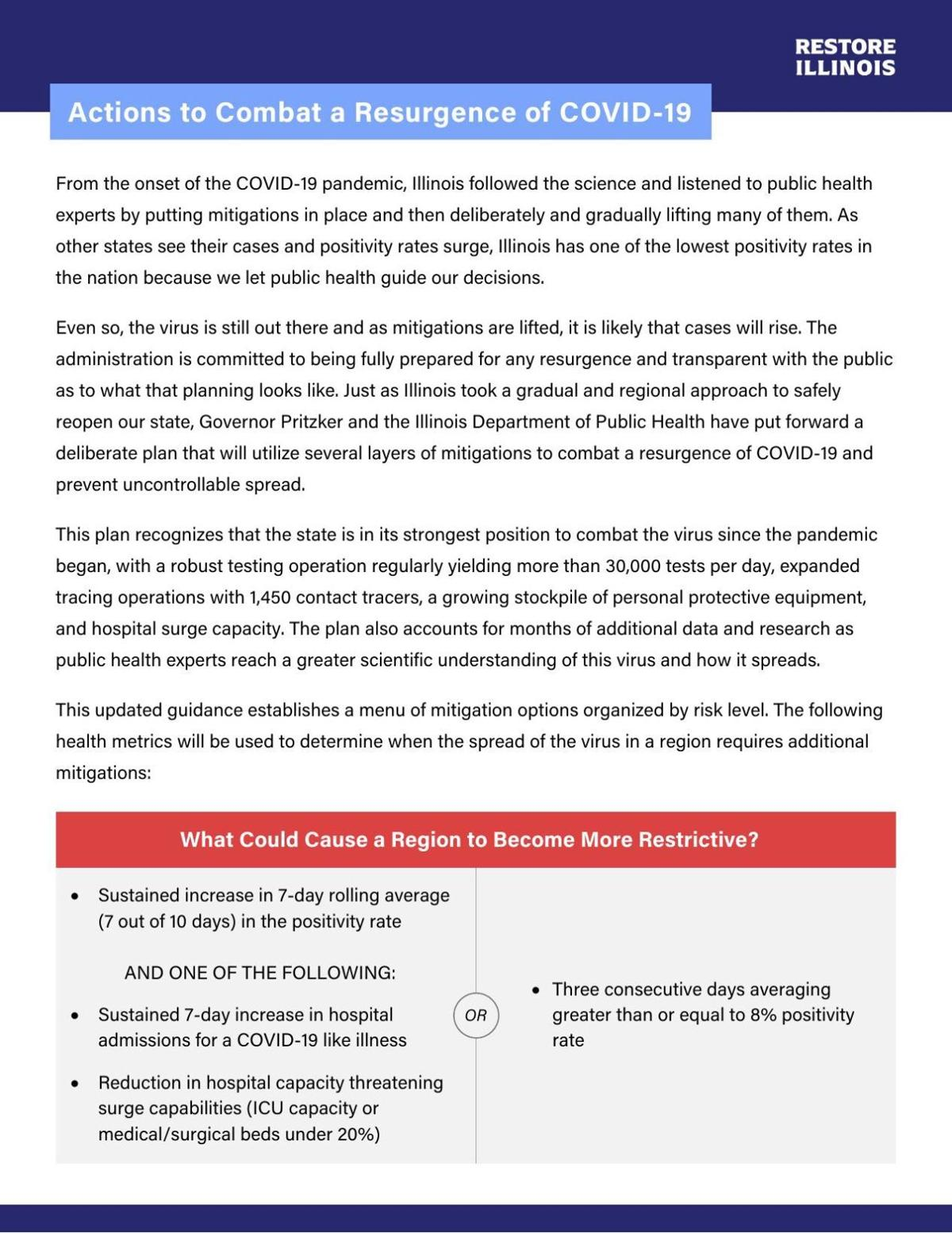 Document: Actions to Combat a Resurgence of COVID-19, released by Gov. Pritzker's office