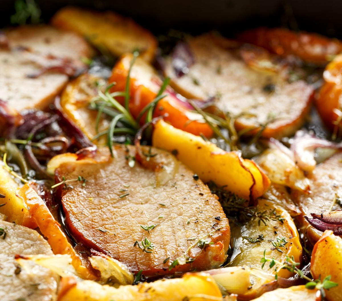 Pork Chops and Apple Sheet Pan Dinner