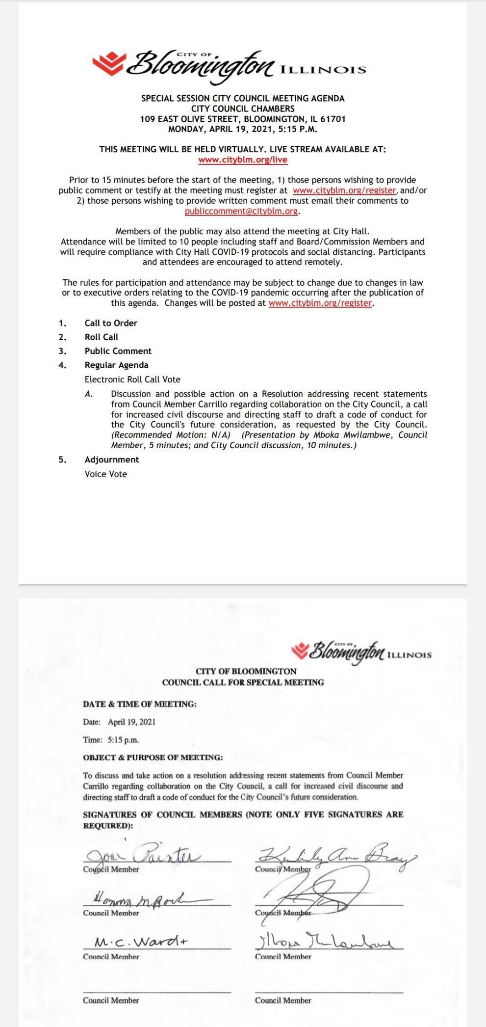 Bloomington City Council April 19, 2021 special session agenda