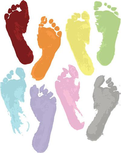 Colored footprints births
