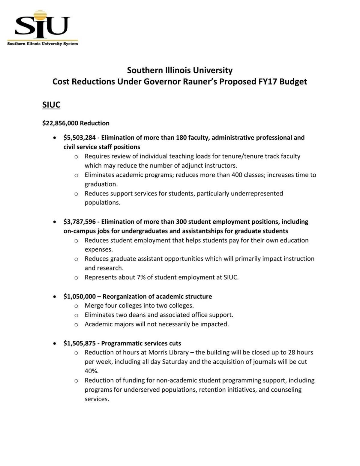 SIU Proposed Cuts, FY17