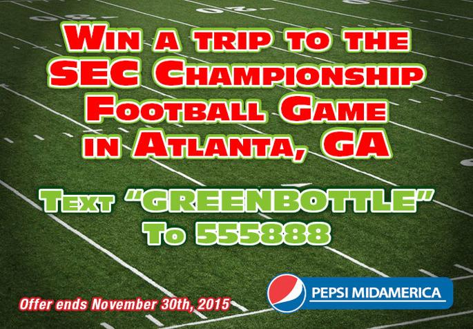 Enter now to WIN tickets to the SEC Football Championship game in Atlanta, GA! - Please turn images on