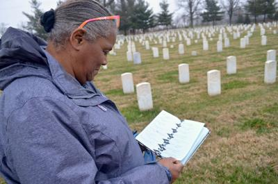 Corene researches USCT at Mounds Cemetery 1