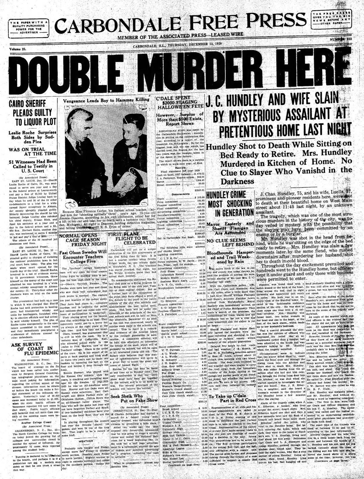 Hundley murder front page
