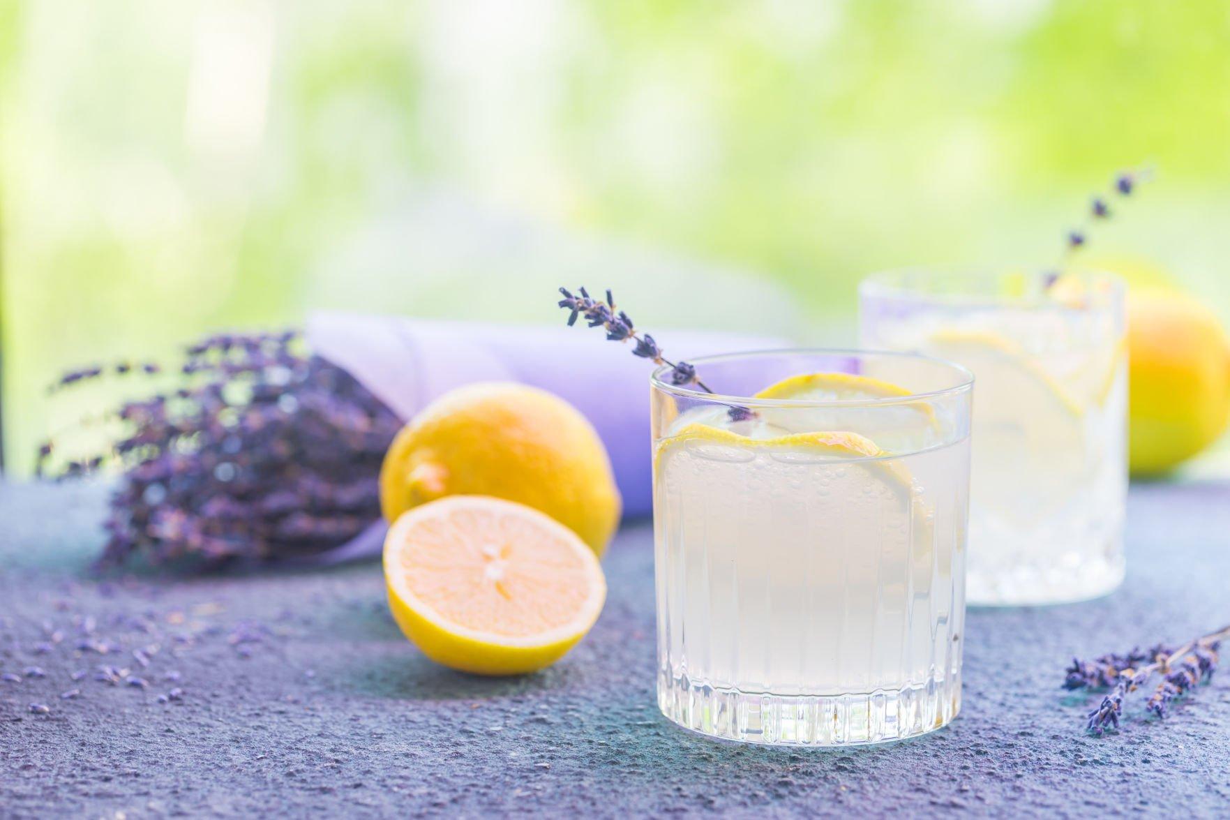 Lemonade with lemons and lavender