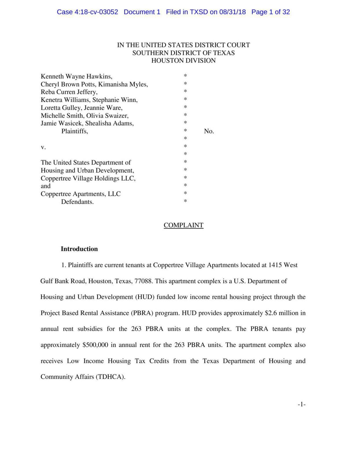 Lawsuit against HUD and Texas Coppertree Village.pdf