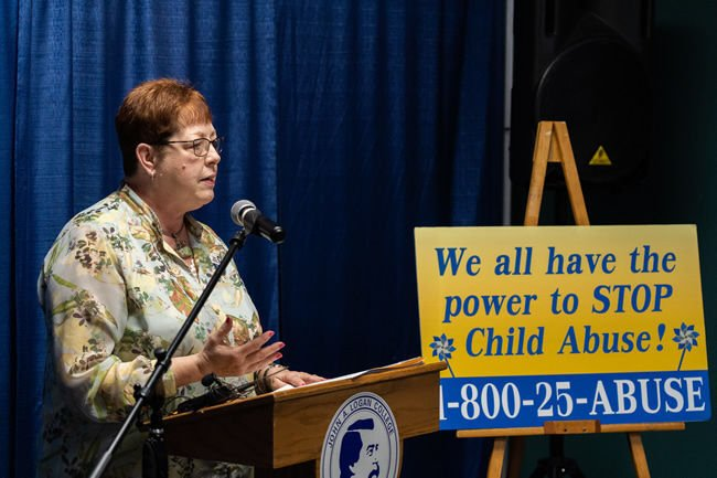 Dr. Kathy Swafford speaks at the Child Abuse Prevention kick-off.