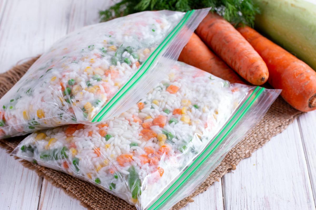 Frozen mixed vegetables in freezer bag