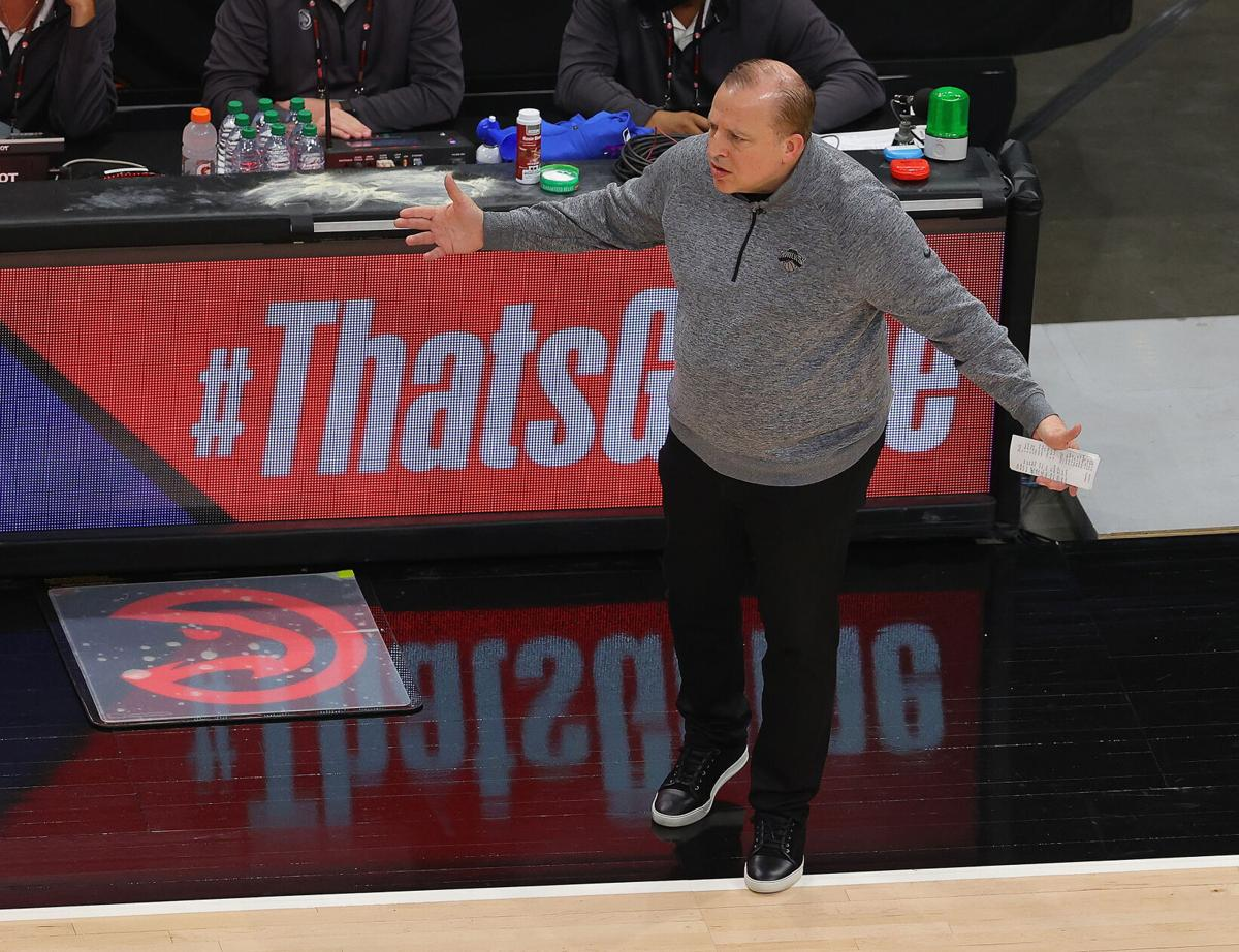 Head coach Tom Thibodeau of the New York Knicks reacts against the Atlanta Hawks during game four of the Eastern Conference Quarterfinals at State Farm Arena on May 30, 2021 in Atlanta, Georgia.