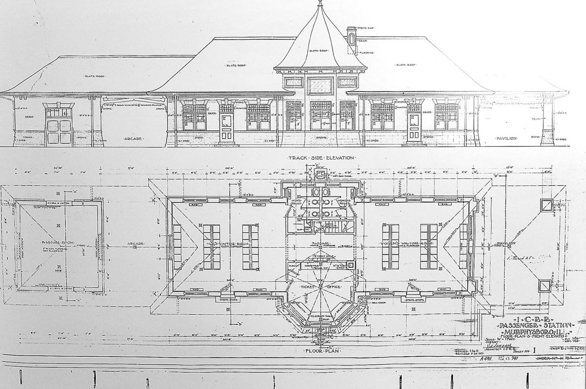 Architectural drawing of train depot