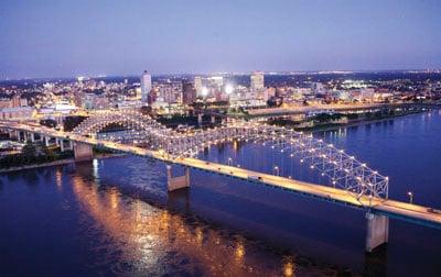Memphis Skyline Showcasing the Hernando DeSoto Bridge