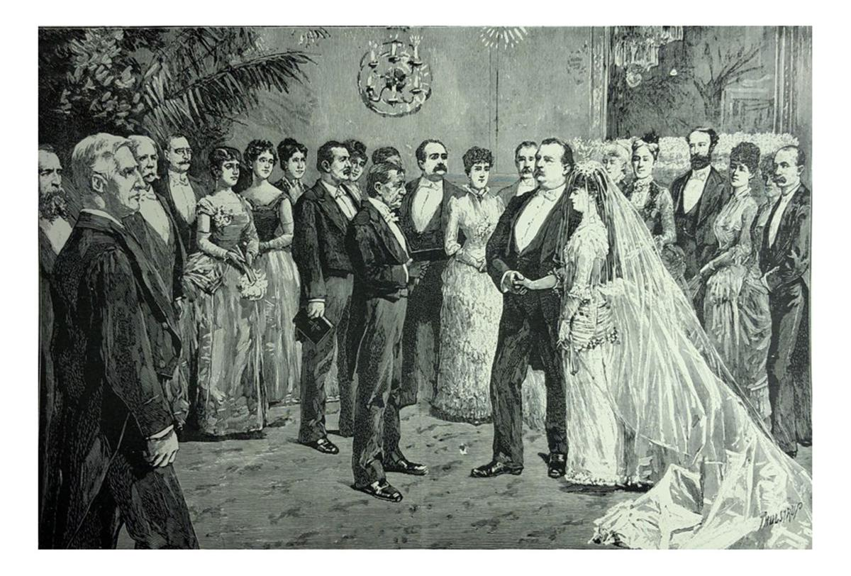 Antique illustration - The ceremony at Grover Cleveland's marriage