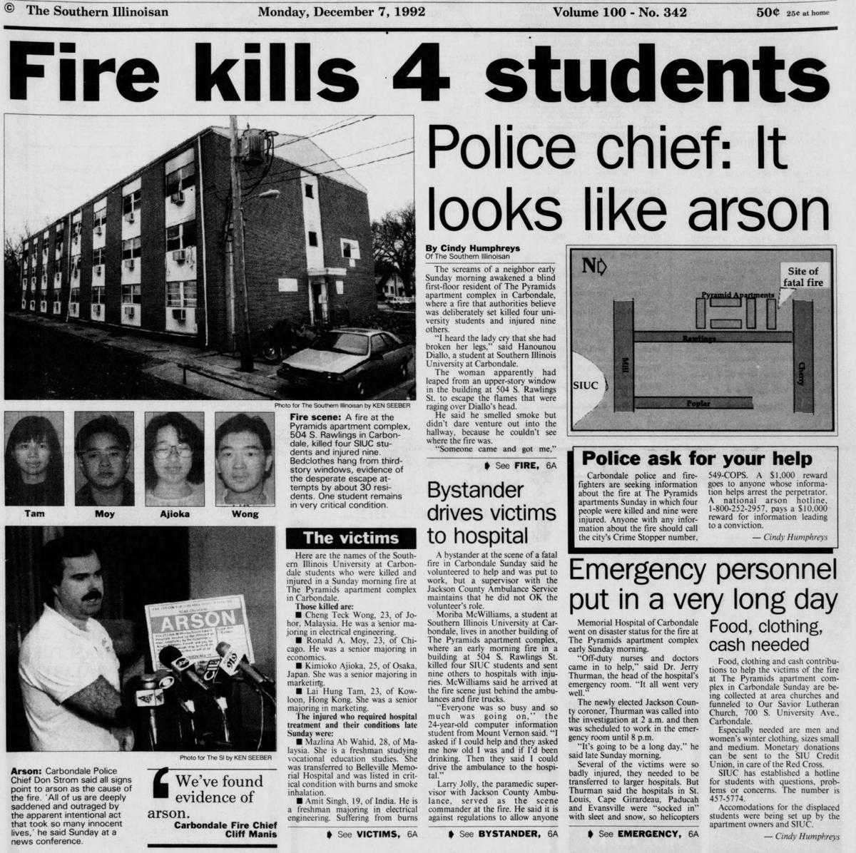 25 Years Ago An Arson At Pyramid Apartments Killed 5 Students The Ken 1 12 By Strom Case Remains Unsolved Carbondale