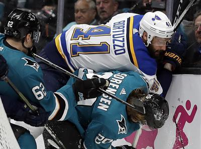 APTOPIX Blues Sharks Hockey