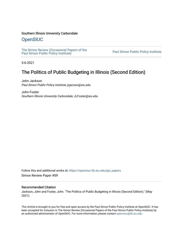 The Politics of Public Budgeting in Illinois